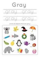 apprendimento del colore grigio per bambini in età prescolare. Pratica di scrittura. vettore