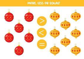 più, meno, uguale alle palline di Natale. confronto dei numeri per i bambini. vettore