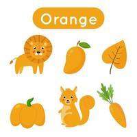 schede flash con oggetti di colore arancione. foglio di lavoro stampabile educativo. vettore