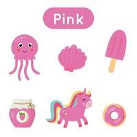 schede flash con oggetti di colore rosa. foglio di lavoro stampabile educativo. vettore
