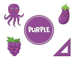 imparare il colore viola per i bambini in età prescolare. foglio di lavoro educativo. vettore