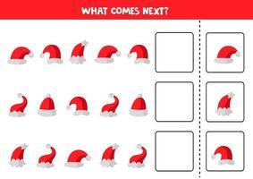 cosa viene dopo con i cappellini natalizi. foglio di lavoro educativo. vettore