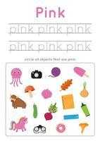 imparare il colore rosa per i bambini in età prescolare. Pratica di scrittura. vettore