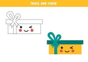 confezione regalo kawaii traccia e colora. pratica di abilità di scrittura. vettore