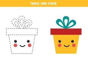 pratica di scrittura a mano per bambini. confezione regalo kawaii traccia e colora. vettore