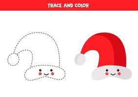 foglio di lavoro di tracciamento con simpatico berretto kawaii di Babbo Natale. vettore