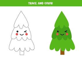 traccia e colora un simpatico albero di natale kawaii. vettore