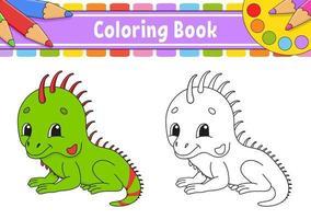 libro da colorare con iguana vettore
