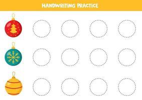 pratica di abilità di scrittura. tracciare linee con palle di Natale. vettore