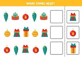 cosa viene dopo con palle di Natale e scatole regalo di Natale. vettore
