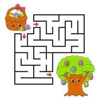 labirinto per i bambini per celebrare la Pasqua vettore
