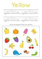 imparare il colore giallo per i bambini in età prescolare. Pratica di scrittura. vettore