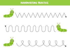 traccia le linee con simpatici bruchi. Pratica di scrittura. vettore