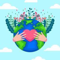 giornata della terra con l'icona del cuore vettore