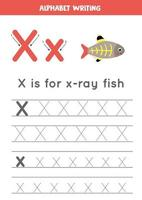 tracciando la lettera x dell'alfabeto con un simpatico cartone animato x ray fish. vettore