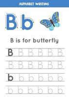 pratica della scrittura a mano con la lettera dell'alfabeto. tracciamento b. vettore