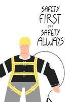 sicurezza prima sicurezza sempre poster con operaio industriale vettore