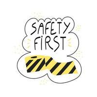 sicurezza prima frase scritta a mano nastro nero e giallo vettore