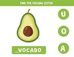 trova la lettera mancante nella parola. avocado simpatico cartone animato. vettore