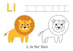 pagina da colorare con la lettera le leone simpatico cartone animato. vettore