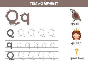 pratica della scrittura a mano con la lettera dell'alfabeto. tracciamento q. vettore