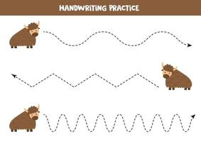 tracciando linee con yak simpatico cartone animato. pratica della scrittura a mano. vettore