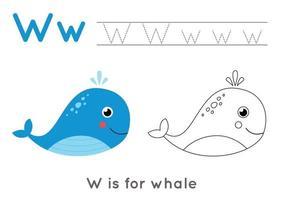 pagina da colorare e tracciare con la lettera w e balena simpatico cartone animato. vettore