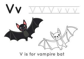 pagina da colorare con la lettera ve un simpatico pipistrello vampiro. vettore