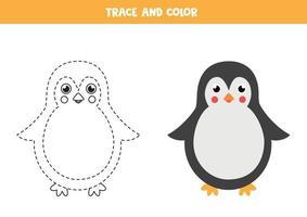 traccia e colora il simpatico pinguino. foglio di lavoro per bambini. vettore