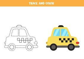 traccia e colora un'auto in taxi dei cartoni animati. foglio di lavoro per bambini. vettore