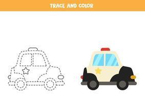 traccia e colora la macchina della polizia dei cartoni animati. foglio di lavoro per bambini. vettore