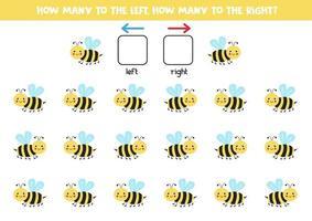 a sinistra oa destra con un'ape carina. foglio di lavoro logico per bambini in età prescolare. vettore
