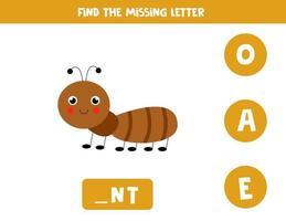 trova la lettera mancante con una formica carina. foglio di lavoro di ortografia. vettore