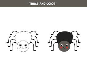 traccia e colora un ragno carino. foglio di lavoro per bambini. vettore