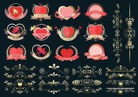 etichetta del cuore impostata per la carta di nozze o il giorno di San Valentino vettore