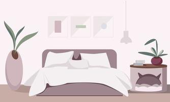 interno accogliente camera da letto con accessori vettore