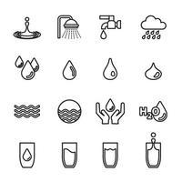 icona del concetto di goccia d'acqua imposta immagine vettoriale. vettore