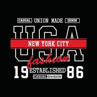 design t-shirt tipografia denim usa new york city vettore