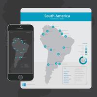 Mappa moderna del Sud America per l'interfaccia utente dell'applicazione mobile vettore