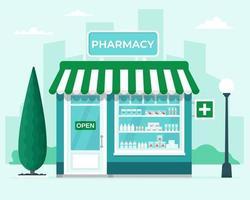 farmacia negozio di fronte sullo sfondo della città. commerciale, edificio della medicina di proprietà. illustrazione vettoriale in stile piatto
