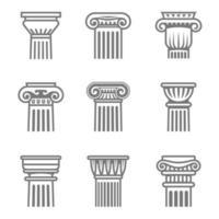set di icone di colonne antiche nei colori bianco e nero. vettore
