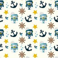 simpatico robot, simboli nautici e marini senza cuciture vettore