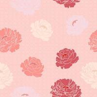 seamless con fiori di peonia e forma geometrica vettore
