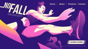 illustrazione vettoriale per ui o una pagina di destinazione della corsa ad ostacoli, atleta femminile che salta attraverso l'ostacolo con determinazione nel gioco.