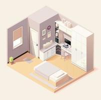 interno camera da letto moderna con mobili in stile isometrico vettore