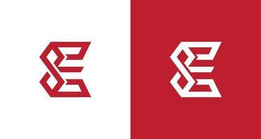 lettera e logo nitido e geometrico con simbolo di infinito vettore
