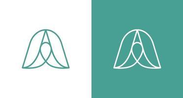moderna bella e minimale lettera e logo con elemento foglie vettore