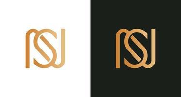 semplice elegante lettera ns logo infinito vettore