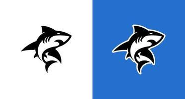 icona di squalo moderno sportivo sul colore bianco e nero vettore
