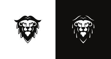 moderno ed elegante logo testa di leone pirata in colore bianco e nero vettore